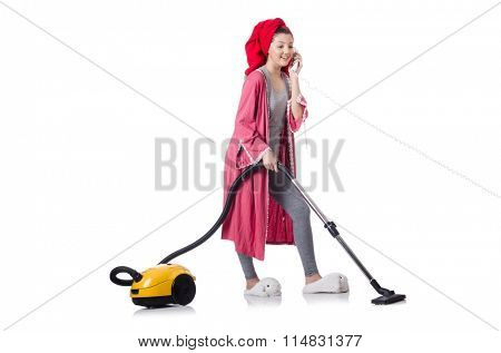Housewife isolated on white background