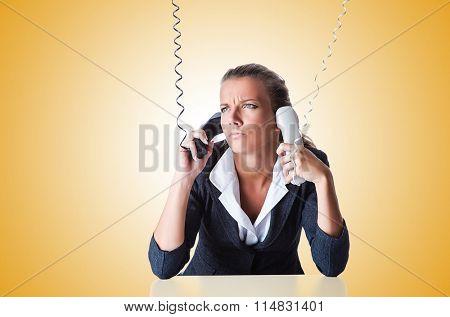 Female helpdesk operator on white