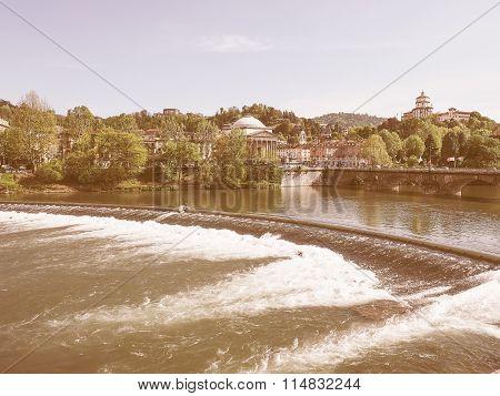 Retro Looking River Po Turin