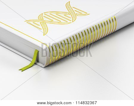 Healthcare concept: closed book, DNA on white background