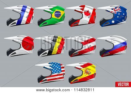 Set of Motorcycle Helmets
