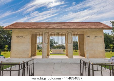 Main Gate Of  Chong-kai War Cemetery At Kanchanaburi, Thailand.