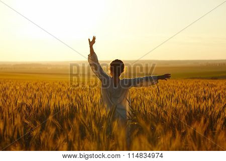 Happy Young Woman Among Rye Field