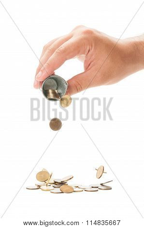 Pouring A Small Bucket Of Romanian  Coins.