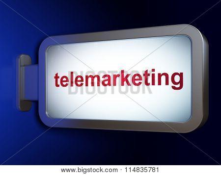Advertising concept: Telemarketing on billboard background