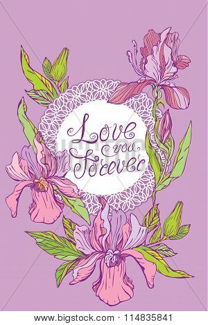Card With Round Lace Frame And Orchid Flowers On Purple Background. Handwritten Calligraphic Text Lo