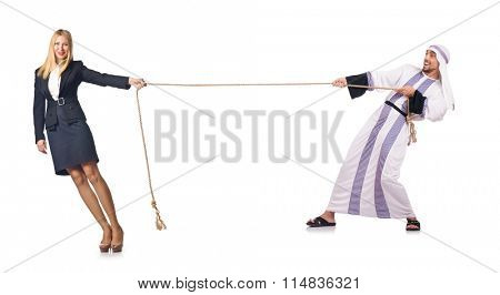 Woman pulling rope on white