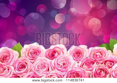 Beautiful boquet  on light abstract  background