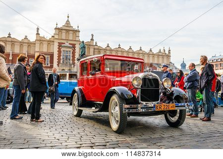Krakow, Poland - May 15, 2015: Classic Ford On The Rally Of Vintage Cars In Krakow, Poland