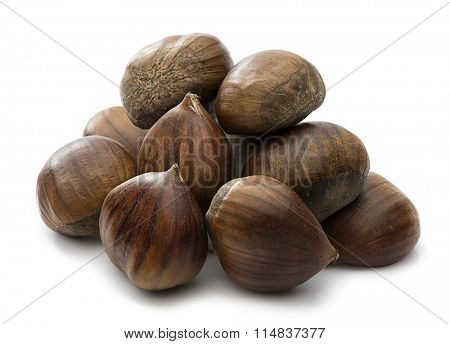 Heap of fresh chestnuts isolated on white background.