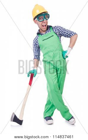 Funny man with axe isolated on white