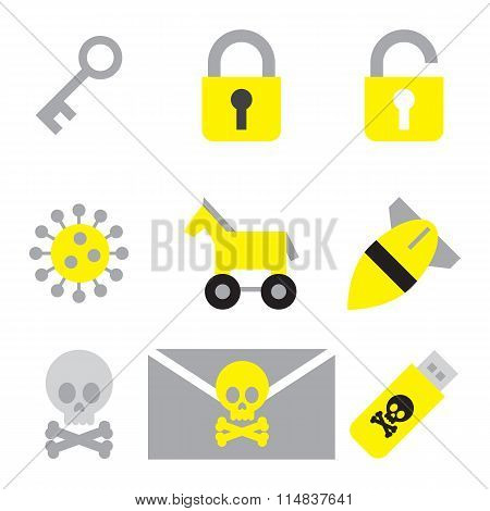 computer security icon set flat style