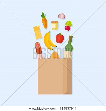 Grocery bag vector flat illustration