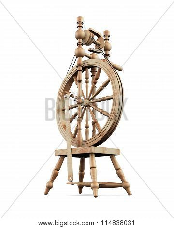 Old Wooden Spinning Wheel On White Background.