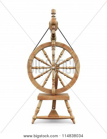 Distaff Wooden Isolated On White Background.