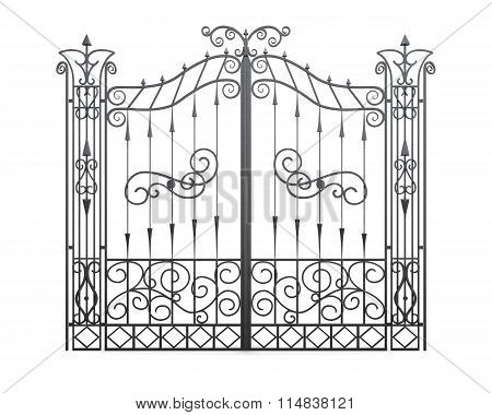 Wrought Iron Gate Isolated On White Background. Fence Front View. 3D Illustration