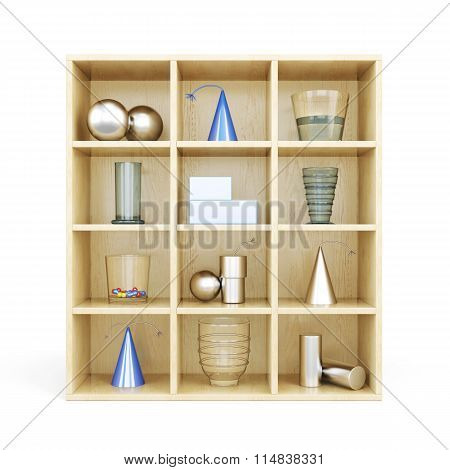 Front View Of Wooden Shelves From Standing On It Primitives. 3D Illustration