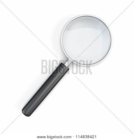 3D Magnifier Isolated On White Bcakground.