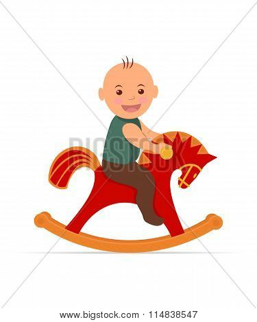 Kid swinging on a rocking horse.