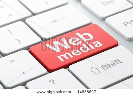Web design concept: Web Media on computer keyboard background