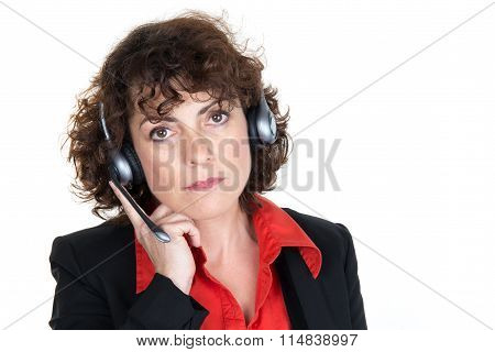 Tired Business Woman At Call Center Sitting By The Table