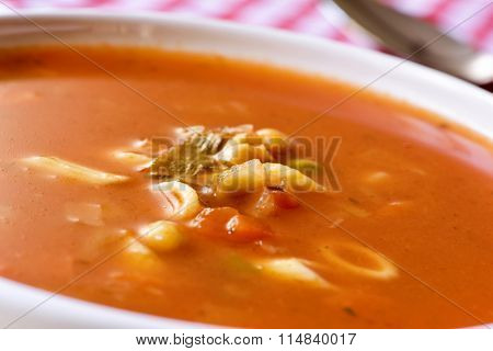 closeup of a bowl with minestrone, a typical italian soup, with vegetables and pasta
