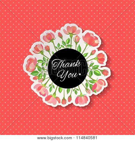 Thank You Floral. Vector Illustration, Eps10.