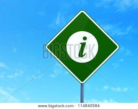 Web development concept: Information on road sign background