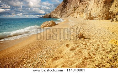 The beautiful beach of Egremni, on the island of Lefkada in Greece