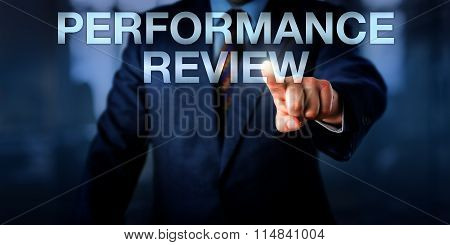 Manager Touching Performance Review Onscreen
