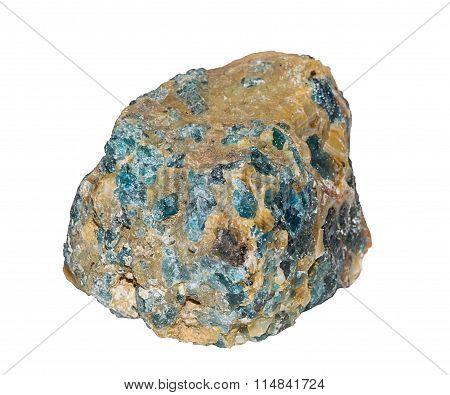 Blue Apatite Stone (madagaskar) Isolated