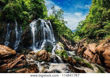 Waterfal near Cat Cat Village near (Sapa) Sa Pa, Vietnam - popular tourist trekking destination