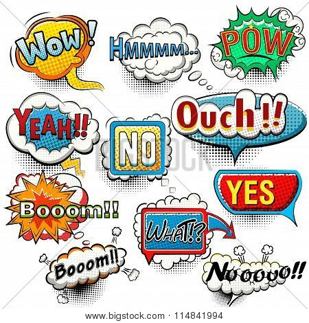 Bright comic speech bubbles screams, phrases, sounds vector