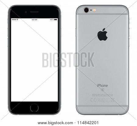 Space Gray Apple Iphone 6S Mockup Front View With White Screen And Back Side With Apple Inc Logo
