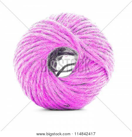 Pink Braided Skein, Sewing Yarn Roll Isolated On White Background