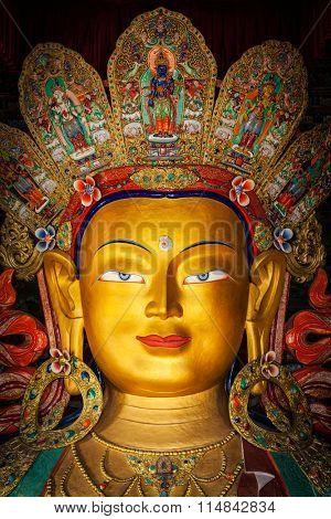 Maitreya Buddha statue in Thiksey Gompa. Ladakh, India