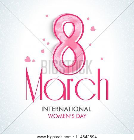 Greeting card design with stylish text 8 March on hearts decorated background for Happy International Women's Day celebration.
