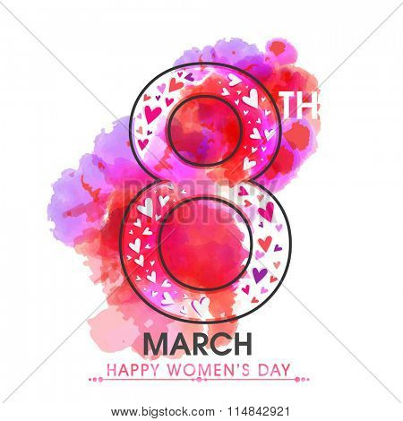 Stylish text 8th March on colorful splash background for Happy International Women's Day celebration.