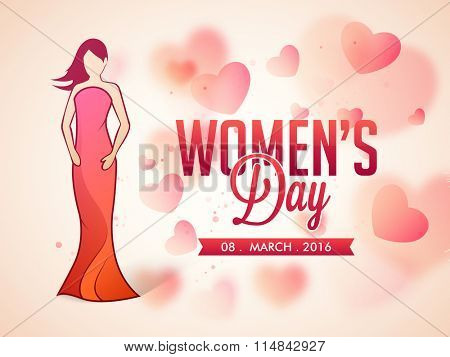 Young fashionable girl on hearts decorated glossy background for Happy International Women's Day celebration.