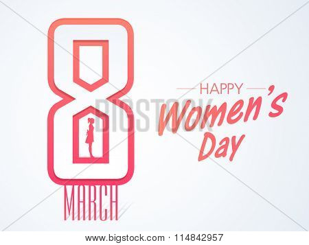 Stylish text 8 March with silhouette of young girl for Happy International Women's Day celebration.