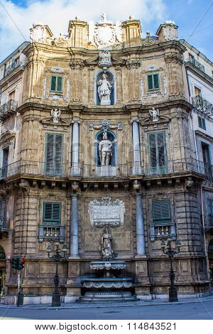 Quattro Canti, One Of The Four Sides Of The Octagonal Square In Palermo,  Italy