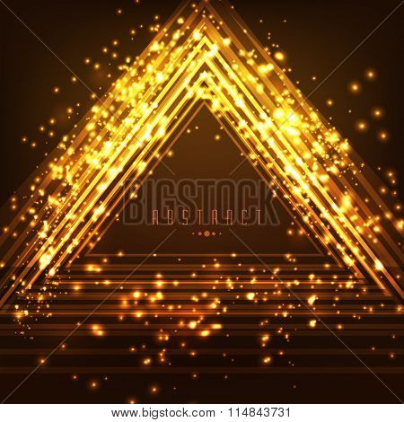 Shiny golden abstract design decorated glossy brown background.