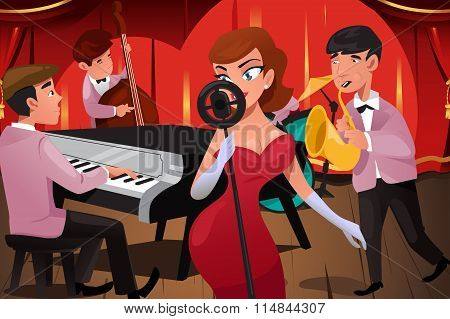Jazz Band With A Female Singer