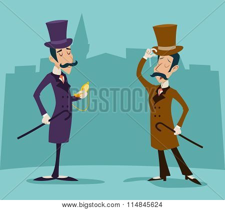 Victorian Gentleman Meeting Businessman Cartoon Character Icon on Stylish English City Background Re