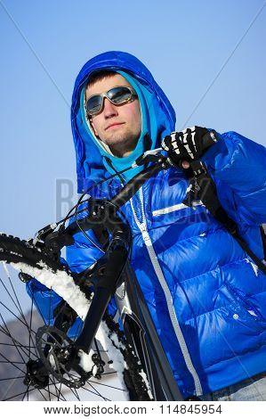 Winter cyclist portrait
