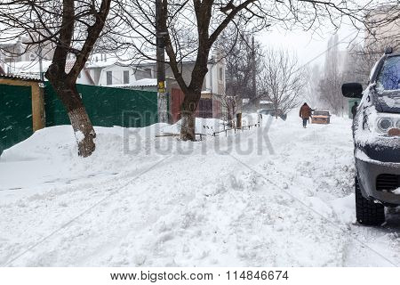 Street With Lots Of Snow In Odessa
