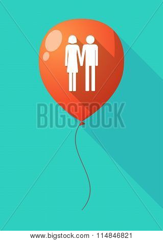 Long Shadow Balloon With A Heterosexual Couple Pictogram