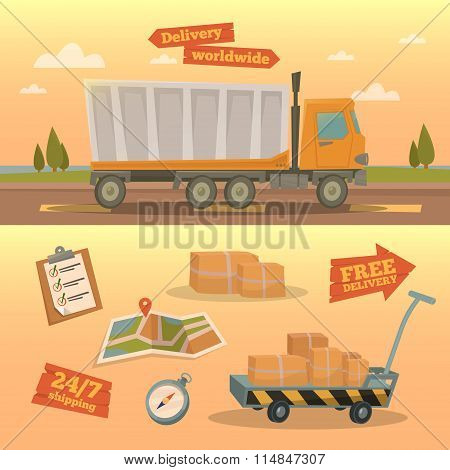 Delivery Service Concept. Worldwide Delivery Truck With Different Elements