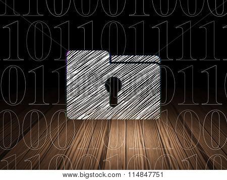 Business concept: Folder With Keyhole in grunge dark room