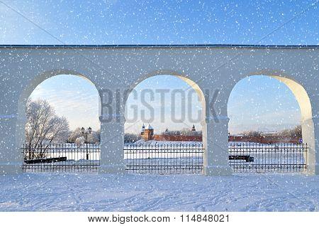Novgorod Kremlin In Veliky Novgorod, Russia - Winter View In Sunny Day